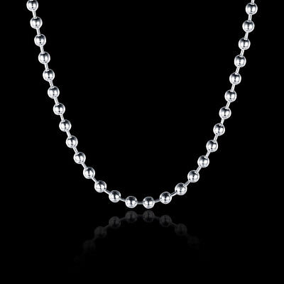 "16""-24"" Mens Womens 925 Sterling Silver 2mm Thick Ball Bead Chain Necklace #N171"
