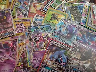 1x 100 Card Lot Official Pokemon TCG with ULTRA RARE - EX GX SECRET LELE FA MEGA