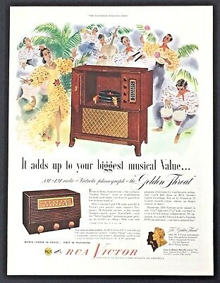 1949 RCA Victor Advertisement Radio Phonograph Golden Throat Music Print AD