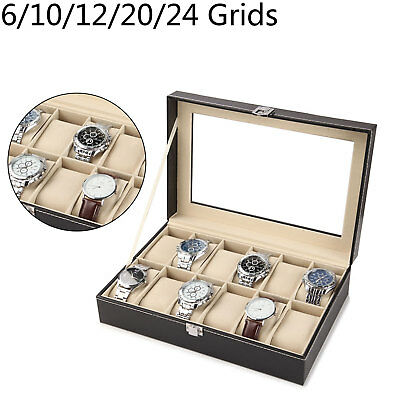 6-24 Grid Glass Faux Leather Watch Case Organiser Bracelet Storage Display Box
