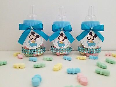 12 Baby Mickey Mouse Fillable Bottles Baby Shower Favors Prizes Boy