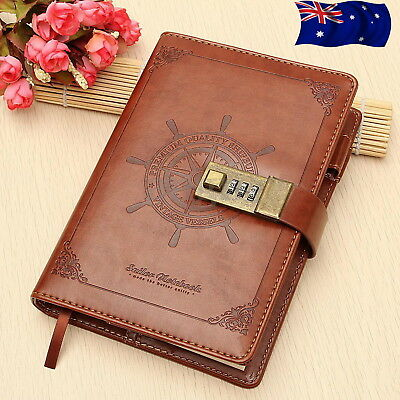 B6 Rudder Brown Leather Journal Blank Diary Book Note Book Combination Lock  C