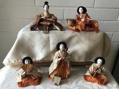 5 Antique Japanese Royal Court Hina Dolls W Accessories