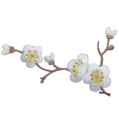 Cherry Blossom Branch Applique Patch - White and Brown (Iron on)