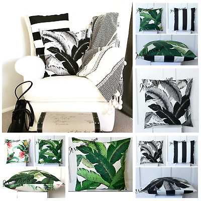 "Tommy Bahama Indoor/Outdoor Palm Leaf- Bl & Wh Stripes- Bird- 18"" Cushion Cover"