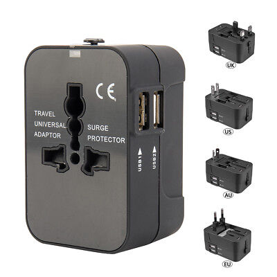 World Wide Universal Travel Adapter Multi Plug Charger with Dual USB 2 PORT UK