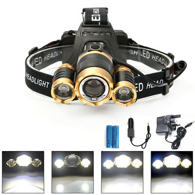 Bright 30000Lm Zoomable XML T6 3LED Headlamp Head Light Torch Lamp 18650 Battery