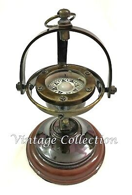 Antique Nautical Marine Brass Gimballed Compass Vintage Collectible Table Decor