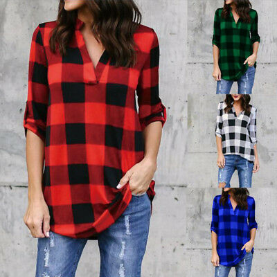 Womens Casual Long Sleeve Plaid Shirt V Neck Loose Tops Blouse Plus Size S-5XL