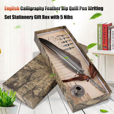 Vintage Feather Quill Dip Pen English Writing with 5 Metal Nib & Pen Holder Gift