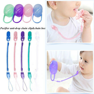 Baby Infant Toddler Dummy Pacifier Soother Spring Nipple Clip Chain Strap Holder