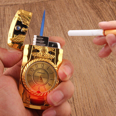 Cool Men Quartz Watch Metal Windproof Jet Torch Gas Butane Lighter Eagle Gold