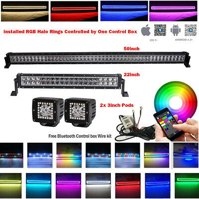 "50"" Inch Off-road LED Light Bar + 22"" + 2x 3"" PODS RGB HALO Chasing + Wiring Kit"