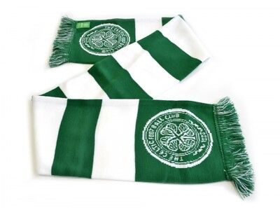 Celtic Football Club Official Bar Jacquard Knitted Scarf Crest Badge Team