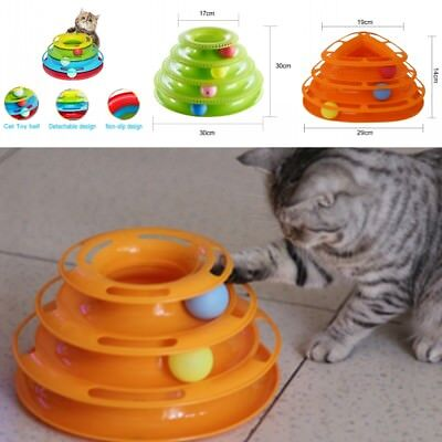 UK Pet Amusement Plate Trilaminar Toy Cat Kitty Crazy Ball Disk Interactive Toys