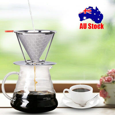 Stainless Steel Pour Over Cone Dripper Reusable Coffee Filter 2Layer Mesh AUship
