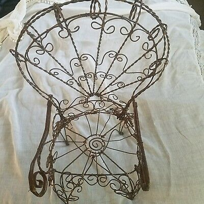 scroll Wire Metal Doll Chair Victorian Manner Vintage some rust garden shabby