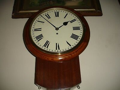 Antique English Drop Dial Chain Drive Fusee Wall Clock