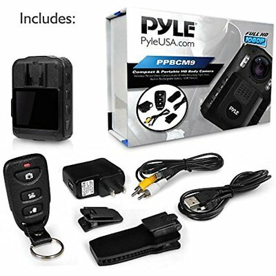 Pyle Compact Wearable Camera Wireless Camcorder Hd Police Body LCD Night Vision