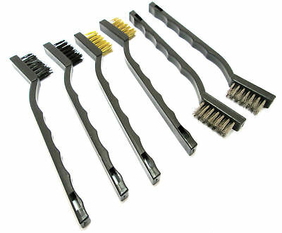 6pc Mini Wire Brush Set Nylon Brass Wire Steel Brushes Cleaning 175mm Precision