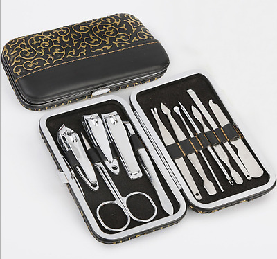 12 PCS Pedicure / Manicure Set Nail Clippers Cleaner Cuticle Grooming Kit Case