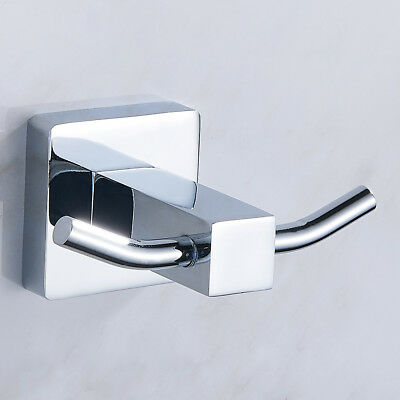 Double Towel Robe Hook in Chrome Bathroom Modern Accessory Coat Hat Clothes AU