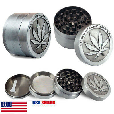 JM Tobacco Herb Grinder Spice Herbal Alloy Smoke Crusher 4PCS Metal Chromium NEW