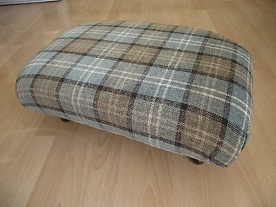 Home & Garden Superb New Burgundy Red Tartan Footstool With Modern Dark Solid Wood Block Legs