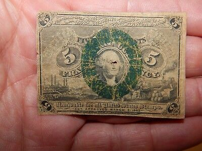 1863 5 cent George Washington US FRACTIONAL CURRENCY Note / CIVIL WAR Era...