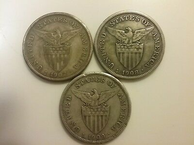 Lot of 3 ~ U.S. Philippines ~ One Peso ~ Silver Coins ~ 1907 1908 1909