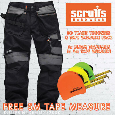 Scruffs 3D TRADE BLACK Cargo /Combat Work Trousers with FREE 5m TAPE OFFER