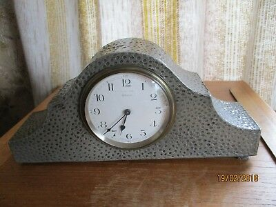 vintage mappin +webb mantle clock/pewter arts and craft