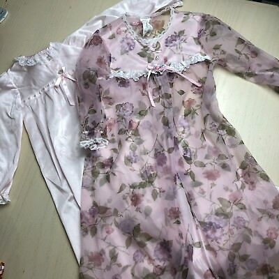 Lot Of 2 Vintage Robes Girls 4T Floral Sheer Pink Satin Lightweight Nightgown