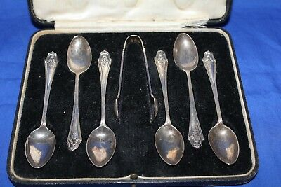 SILVER SPOONS & SUGAR TONGS - London 1927