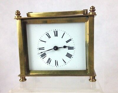 Antique French Brass Carriage Clock / Original Case Unusual Shape Running Well