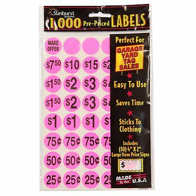 1000 Pcs Yard Garage Sale Price Stickers Prepriced Labels Self Adhesive Tags