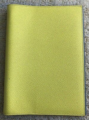 Hermes Globe Trotter Agenda Cover Bicolor Yellow Grey Leather