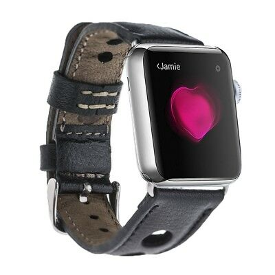 Burkley Holo Strap : Genuine Padded Leather Band for Apple Watch 42mm (Black)