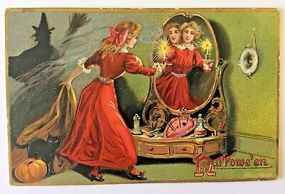 HALLOWEEN POSTCARD Young Lady Seeing a Ghostly Refection & Black Cat & Witch