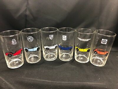 Vintage Mobil Gas Classic Car Collector Glasses Set of 6!  Very Rare Porsche