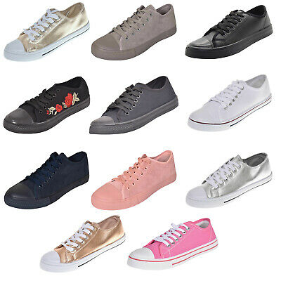 New Ladies Plimsolls Trainers Pumps Womens Lace up Canvas Shoes UK Size 3 to 8