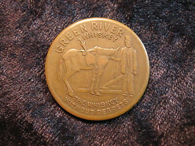 "1 Good Luck token coin Green River Whiskey ""horse shoe"" Oldetyme Distillers"