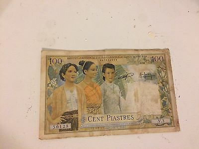 French Indochina 100 Piastres Circulated