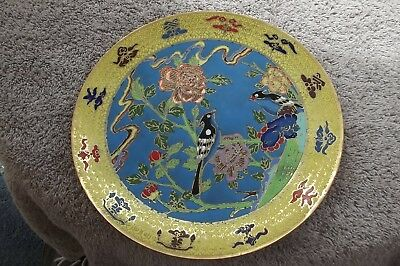 Cloisonne Enamel Brass Plate The Chinese Ch ien Lung Ming Dynasty Birds 71/4 ins