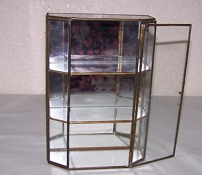 """Glass & Brass Table or wall 3 Shelf Mirror Back Curio Display Cabinet 8"""" Tall"""