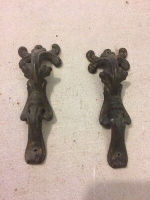 Antique Pair Of Ornate Clock Side Decorations