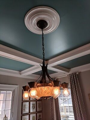 """Refurbished 1900s bowl chandelier with bare-bulb satellites and """"Edison"""" bulbs"""
