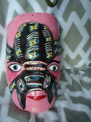 Hand Carved Mask Wood Sculpture Head hand painted mexican