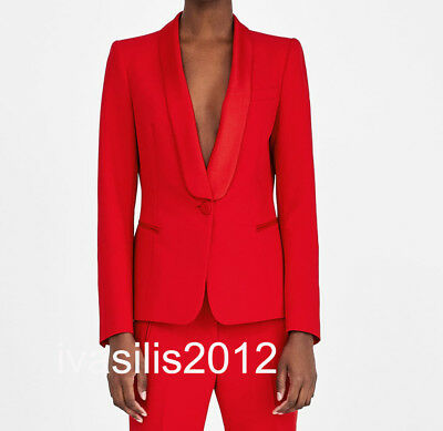 3a77644d7c9 Zara New Woman Tuxedo Style Blazer Red Jacket With Lapel Collar Xs-Xl 2173