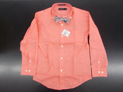 Boys Nautica $32 Shell Pink Dress Shirt w/ Plaid Bow Tie Size 8 - 20